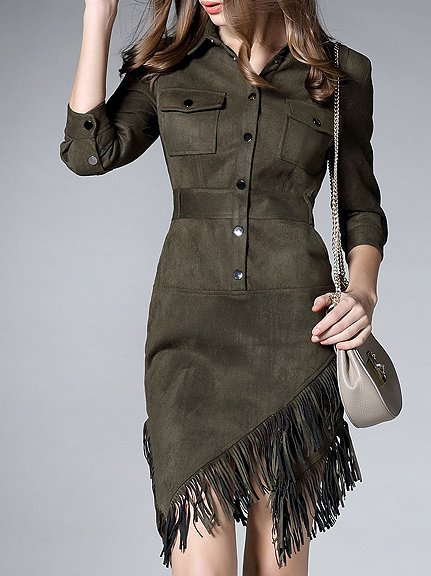 Army Green Paneled 3/4 Sleeve Suede V Neck Mini Dress