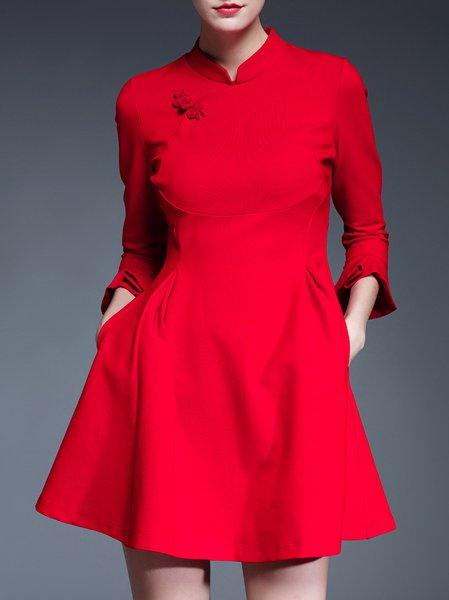 A-line Paneled Frill Sleeve Cotton-blend Girly Mini Dress
