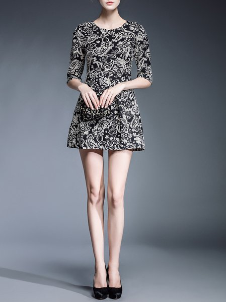 Black Cotton-blend Half Sleeve Printed/Dyed Mini Dress