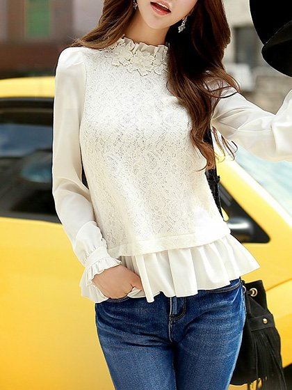 White Pierced Long Sleeve Polyester Long Sleeved Top