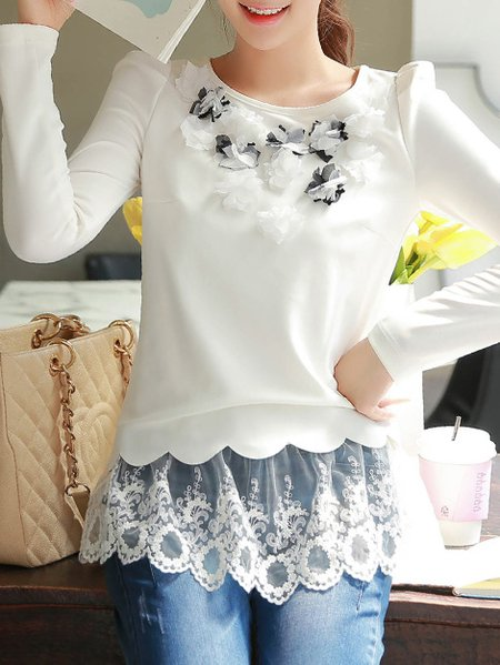 White Long Sleeve Paneled Long Sleeved Top