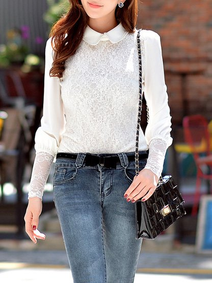 Long Sleeve Work Floral Lace Blouse