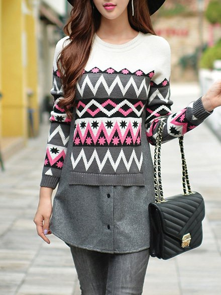 Gray Long Sleeve Jacquard Sweater