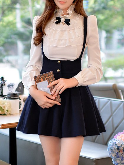 White Long Sleeve Ruffled Turtleneck Blouse