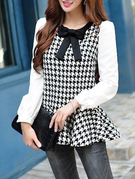 Black Long Sleeve Paneled Checkered/Plaid Blouse