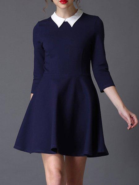 Purplish Blue Viscose 3/4 Sleeve Mini Dress