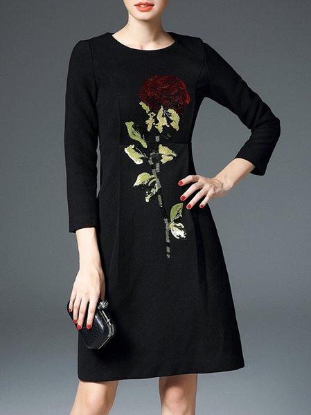 Polyester Vintage Floral Appliqued Long Sleeve Mini Dress