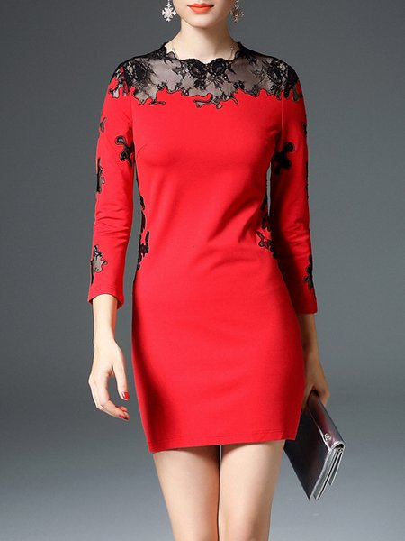 Red Long Sleeve See-through Look Sheath Cotton-blend Mini Dress