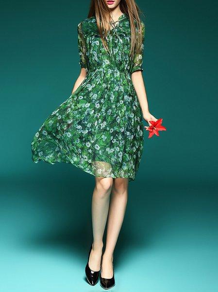 Green Vintage Silk Printed/Dyed Midi Dress