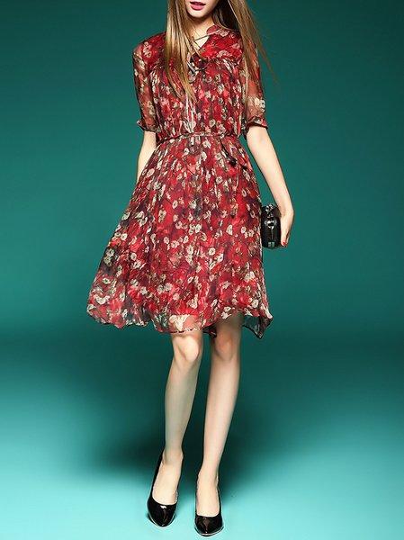 Printed/Dyed Half Sleeve Floral Vintage Silk Midi Dress
