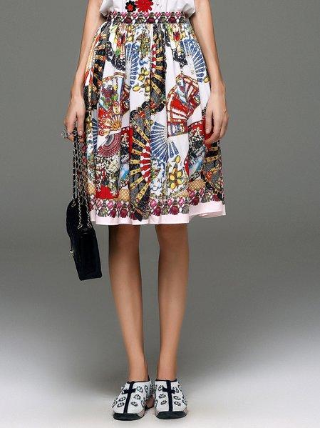 Multicolor Printed A-line Vintage Midi Skirt