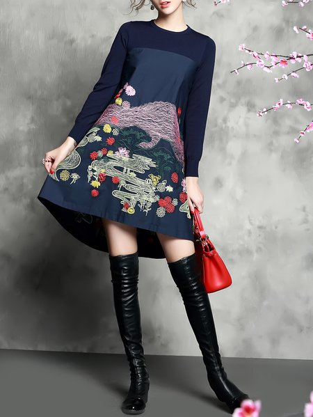 Casual Knitted Paneled Crew Neck Embroidery A-line Long Sleeve Midi Dress