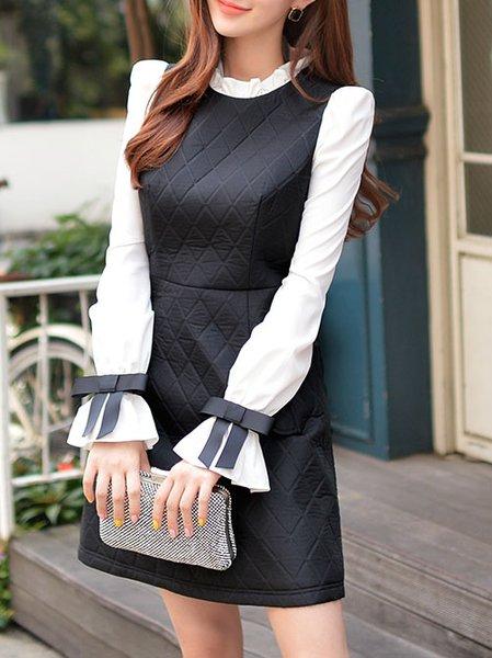 Black Polyester Paneled Turtleneck Long Sleeve Mini Dress
