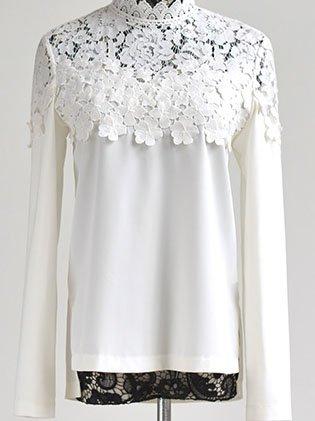 Pierced Lace Work Turtleneck Long Sleeve Blouse - StyleWe.com