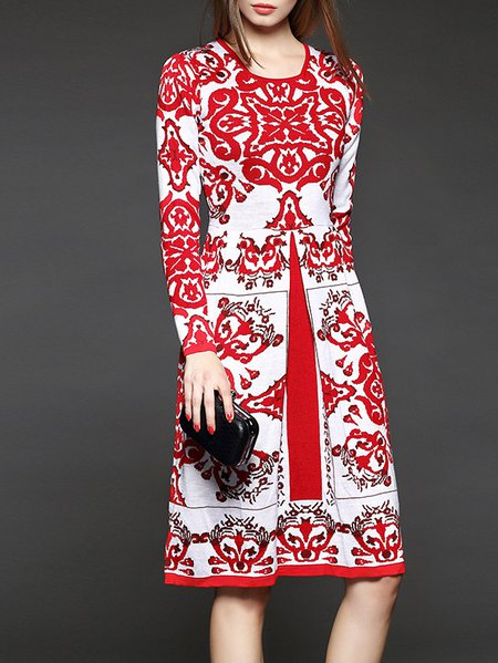 Crew Neck Vintage Floral Long Sleeve Knitted Midi Dress