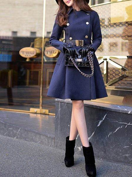 Navy Blue Wool Blend Long Sleeve Coat