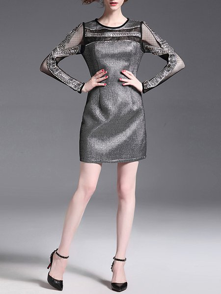 Silver Bodycon Sexy Mini Dress