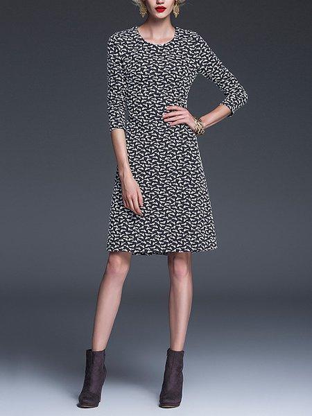 Gray Polyester Long Sleeve Jacquard A-line Mini Dress