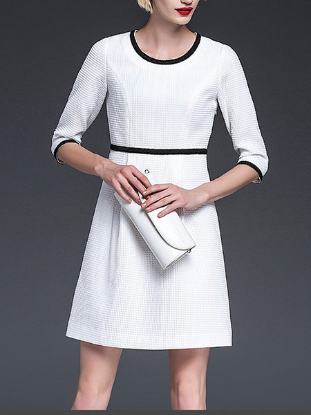 White A-line 3/4 Sleeve Polyester Mini Dress