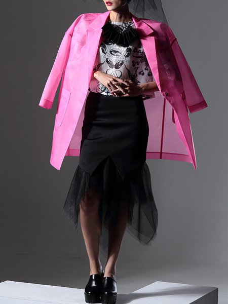 See-through Look Organza Casual Plain Long Sleeve Coat