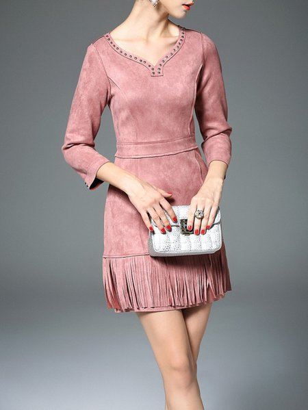 Pink A-line Polyester Fringed 3/4 Sleeve Mini Dress