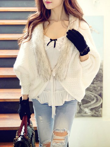 White Acrylic Long Sleeve Cardigan