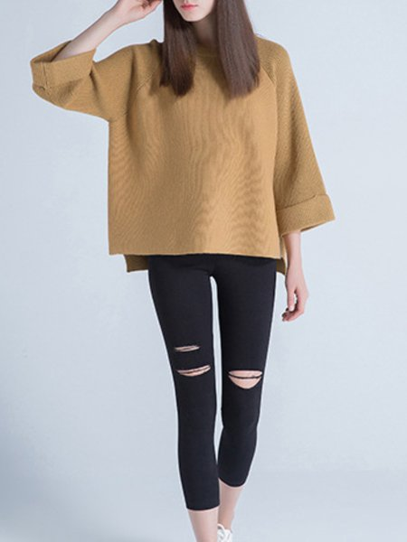 Camel Long Sleeve Wool Blend Knitted Sweater