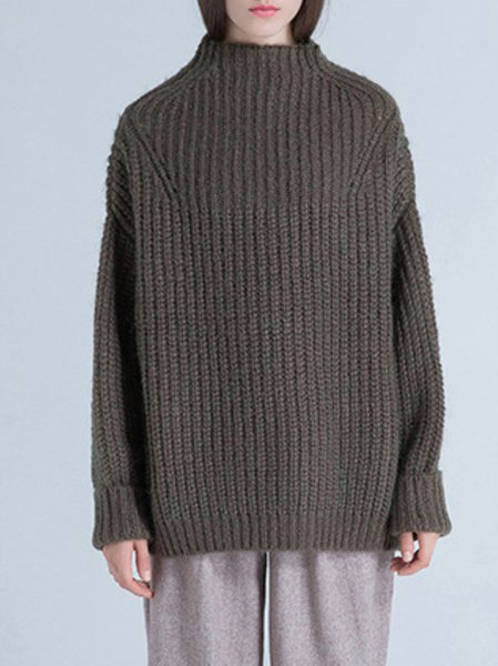 Green Long Sleeve Shift Knitted Wool Blend Sweater