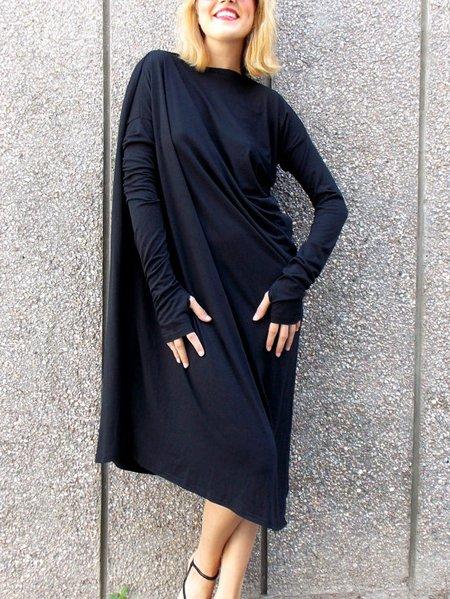 Long Sleeve Cotton-blend Shift Casual Midi Dress