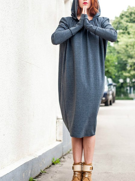Long Sleeve Wool Blend Casual Draped Tunic