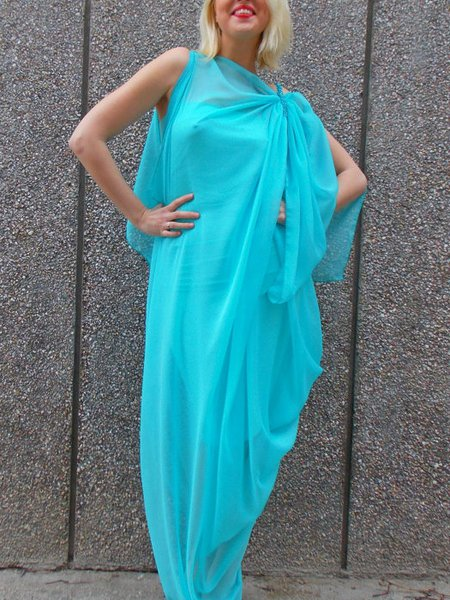 Light Blue Hand Made Sleeveless Maxi Dress