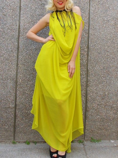 Yellow Sleeveless Shift Wool Blend Maxi Dress