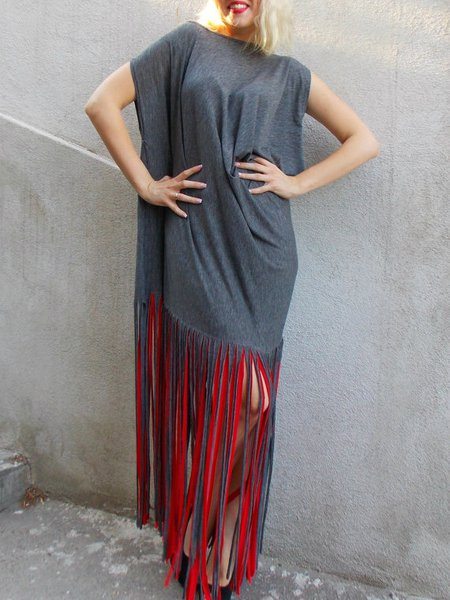 Gray Wool Blend Shift Hand Made Sleeveless Maxi Dress