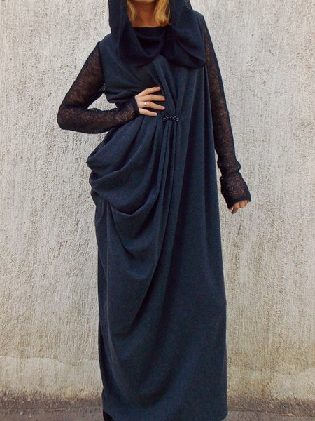 Multicolor Long Sleeve Shift Maxi Dress