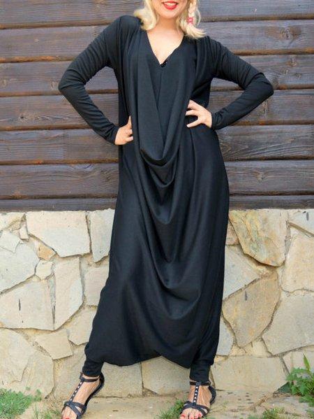 Black Long Sleeve Cotton-blend Hand Made Jumpsuit