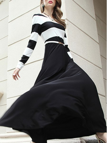 Black Printed Stripes Long Sleeve Maxi Dress