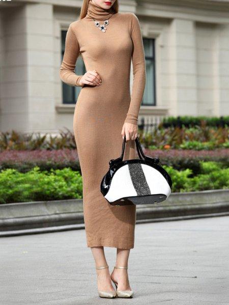 Khaki Turtleneck Knitted Bodycon Long Sleeve Maxi Dress