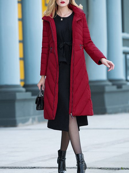 Red Hoodie Long Sleeve Color-block Down Coat