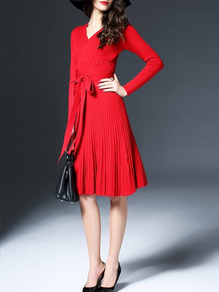 Red Knitted Long Sleeve Mini Dress