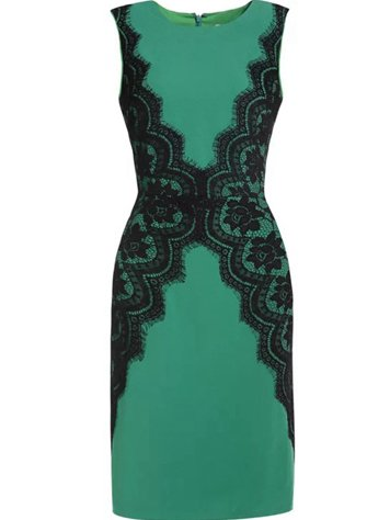 Green Sleeveless Cotton Sheath Mini Dress