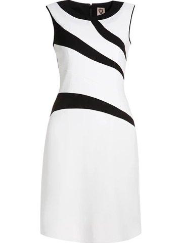 White Color-block Sleeveless Mini Dress