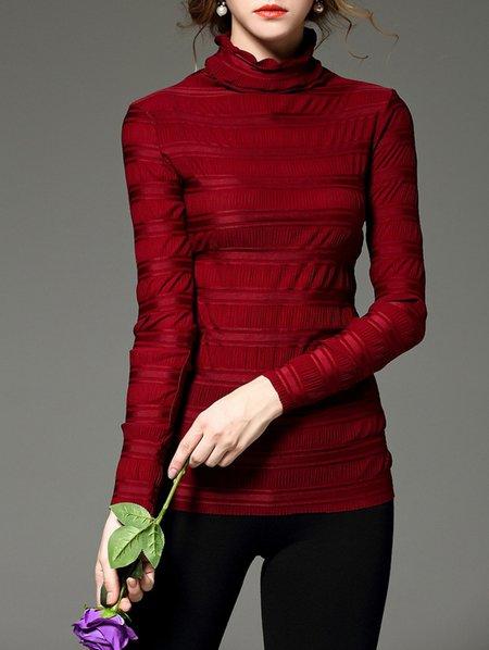 Red Long Sleeve Turtleneck Plain Blouse