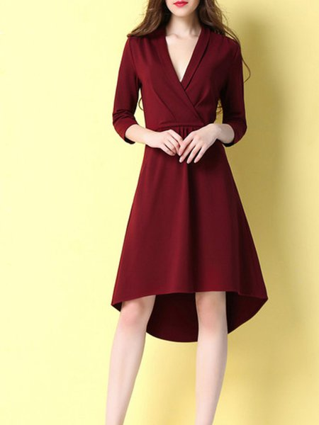 Wine Red Surplice Neck High Low Paneled Casual Midi Dress