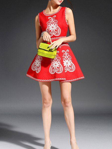 Red Abstract Polyester Sleeveless Paneled Mini Dress