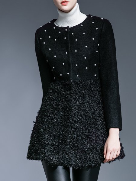 Black Beaded H-line Long Sleeve Coat