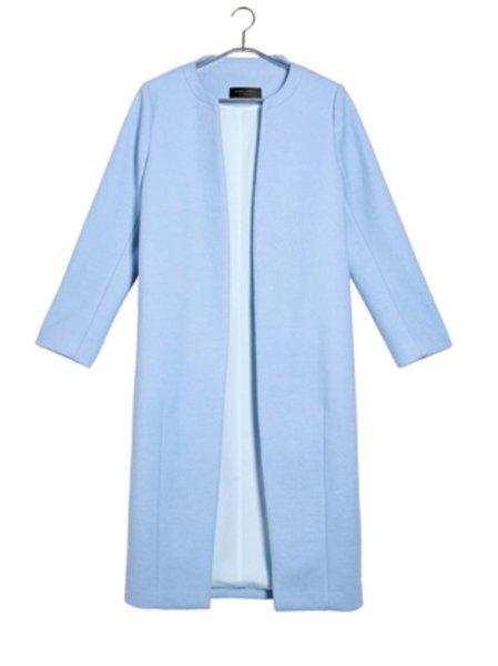 Light Blue H-line Wool Blend Work Coat - StyleWe.com