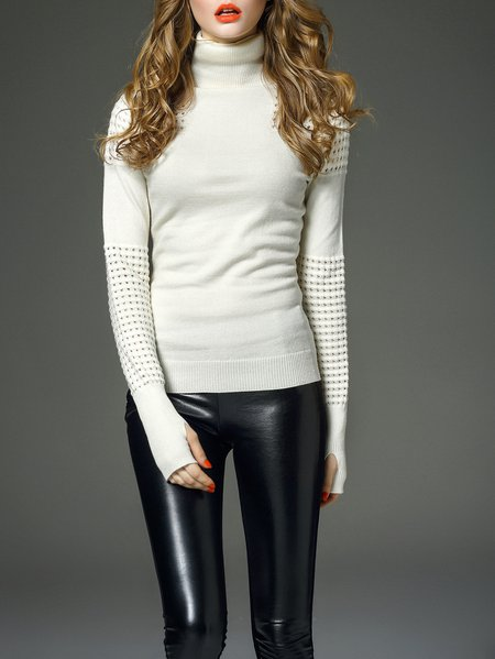 Beige Pierced Long Sleeve Plain Cotton Sweater