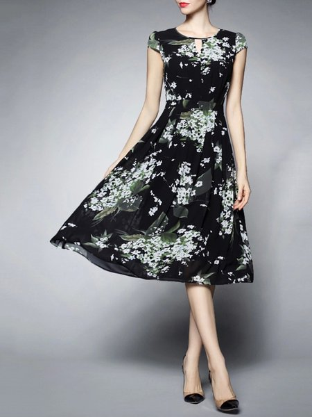 Dark Blue Polyester Printed Short Sleeve Midi Dress