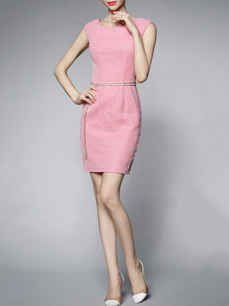 Pink Jacquard Sleeveless Polyester Mini Dress