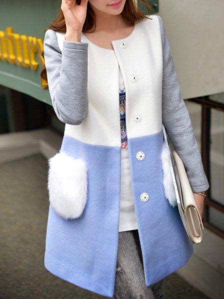 White Wool Blend Long Sleeve Color-block Coat